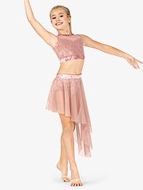 Double Platinum - Girls Performance Crushed Velvet Asymmetrical Skirt