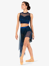 Double Platinum - Womens Plus Size Performance Crushed Velvet Asymmetrical Skirt