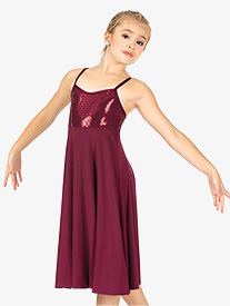 Double Platinum - Girls Performance Glitter Swirl Camisole Dress