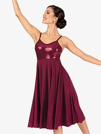 Double Platinum - Womens Plus Size Performance Glitter Swirl Camisole Dress