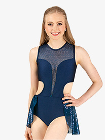 Double Platinum - Womens Plus Size Performance Glitter Swirl Bustled Leotard
