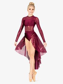 Double Platinum - Womens Plus Size Performance Glitter Swirl Long Sleeve Dress