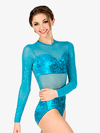 Double Platinum - Womens Performance Velvet Long Sleeve Leotard