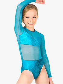 Double Platinum - Girls Performance Velvet Long Sleeve Leotard