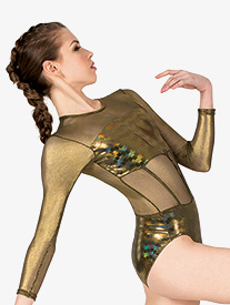Double Platinum - Womens Performance Metallic Long Sleeve Leotard