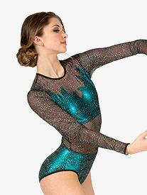 Double Platinum - Womens Performance Glitter Mesh Long Sleeve Leotard