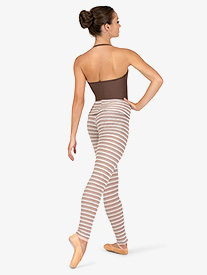 Natalie - Womens Striped Knit Warm Up Roll Down Leggings