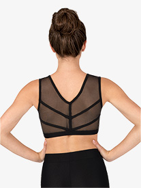 Natalie Couture - Womens Mesh Binding V-Back Dance Tank Bra Top