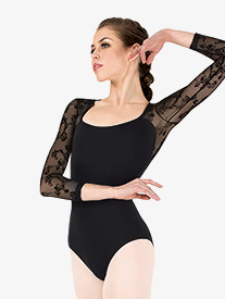 """Natalie Couture - Womens """"Cascading Floral"""" Mesh 3/4 Sleeve Leotard"""