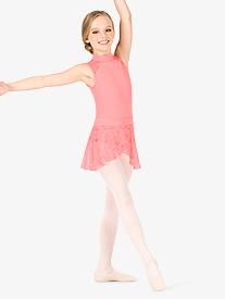 Natalie Couture - Girls Floral Mesh Pull-On Ballet Skirt