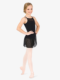 Natalie Couture - Girls Flower Mesh Wrap Ballet Skirt