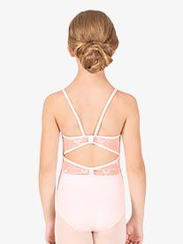 Natalie Couture - Girls Ribbon Mesh Camisole Leotard