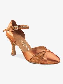 Dance Feel - Womens Closed Toe Glitter Satin Ballroom Dance Shoes