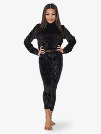Kandi Kouture - Womens Embossed Velvet High Waist Dance Leggings