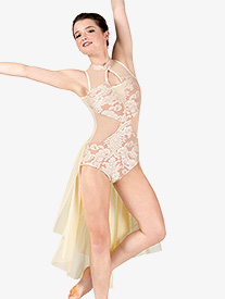 Beau Monde - Womens Performance Bustled Romantic Lace Leotard
