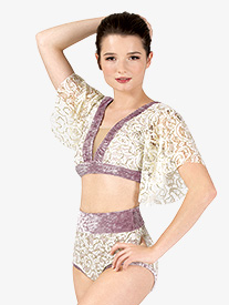 Beau Monde - Womens Performance Lace and Velvet 2-Piece Lyrical Set