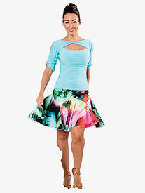 Dance America - Womens Ruched Tulip Short Ballroom Dance Skirt