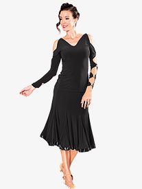 Dance America - Womens 8-Panel Banded Short Ballroom Dance Skirt
