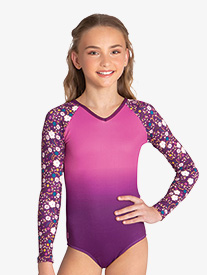 Sylvia P - Girls ''Elva'' Floral Long Sleeve Leotard