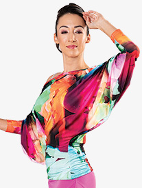 Dance America - Womens Ruched 3/4 Batwing Sleeve Ballroom Dance Top