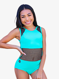Kandi Kouture - Girls Two-Tone Mesh Panel Tank Leotard