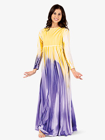 Watercolour - Womens Plus Size Painted Long Circle Worship Dress