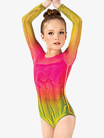 Watercolour - Girls Hand Painted Long Sleeve Leotard