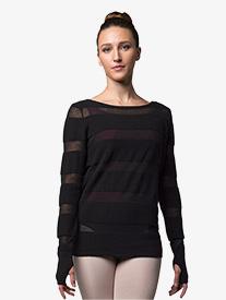 Bloch - Womens Sheer Stripe Knit Warm Up Sweater