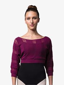 Bloch - Womens Sheer Stripe Cropped Warm Up Sweater