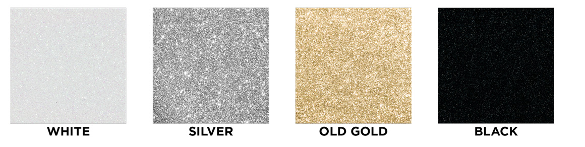 White, silver, old gold, black swatches images