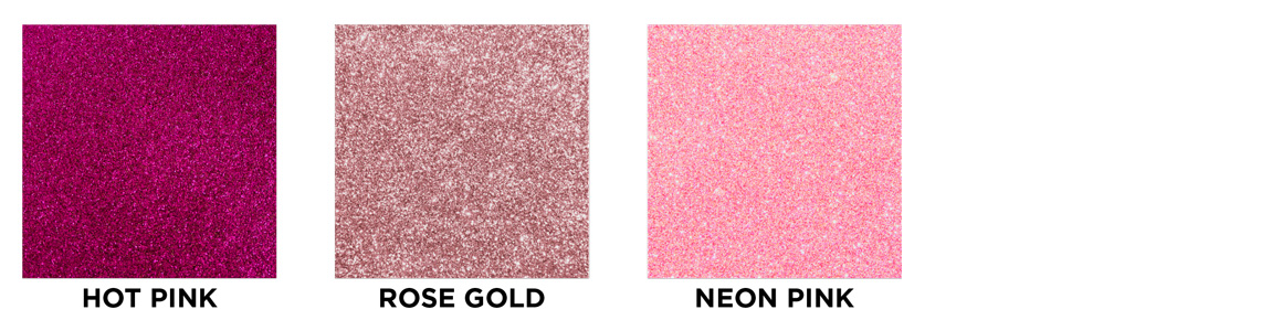 Hot pink, rose gold, neon pink swatch images