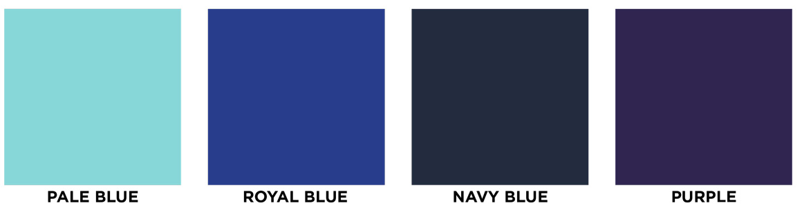 Pale blue, royal blue, navy, purple swatch images