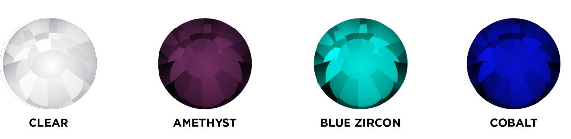 Clear, amethyst, blue zircon, cobalt rhinestone images