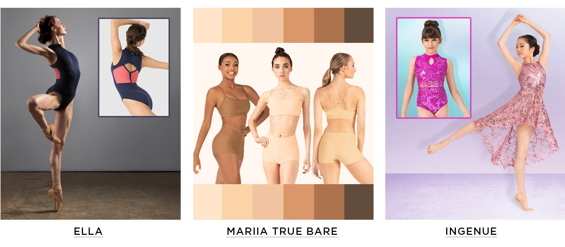 ads for brands: Ella, Mariia True Bare, and Ingenue