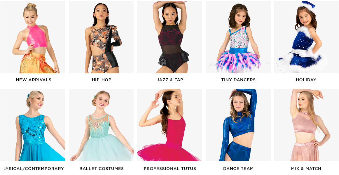 A selection of dance costume categories